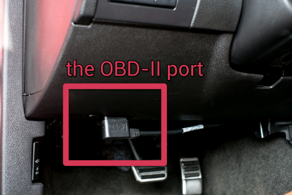 OBD-II Port with Cable in a Mustang
